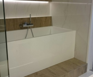 Modern bathroom + fireplace - bown & sons enterprises home renovation contractor